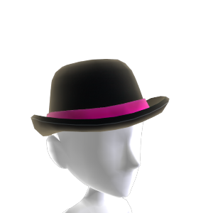 Black and Pink Bowler Hat