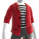 Red Blazer with Striped Shirt